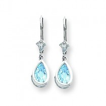 Pear Blue Topaz Leverback Earrings in 14k White Gold