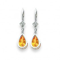 Pear Citrine Leverback Earring in 14k White Gold
