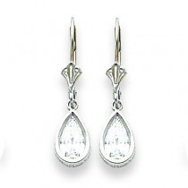 Pear Cubic Zirconia Leverback Earring in 14k White Gold