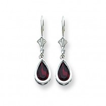 Pear Garnet Leverback Earrings in 14k White Gold