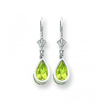 Pear Peridot Leverback Earring in 14k White Gold