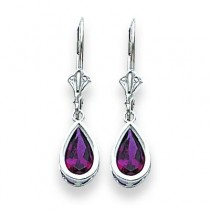 Pear Rhodalite Garnet Leverback Earring in 14k White Gold