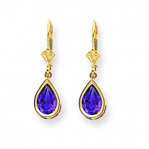9 Pear Amethyst Leverback Earrings in 14k Yellow Gold