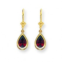 9 Pear Garnet Leverback Earrings in 14k Yellow Gold