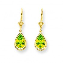 Peridot Diamond Pear Leverback Earring in 14k Yellow Gold