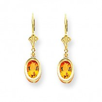 Citrine Diamond Oval Leverback Earring in 14k Yellow Gold