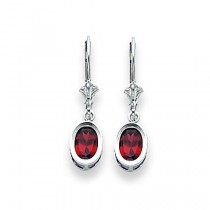 Oval Garnet Leverback Earring in 14k White Gold