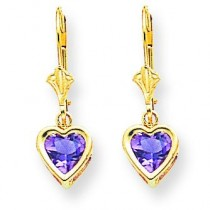 Heart Amethyst Earrings in 14k Yellow Gold