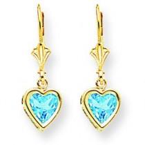 Heart Blue Topaz Earrings in 14k Yellow Gold