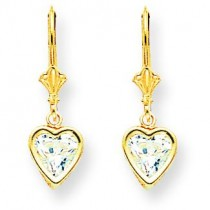 Heart Cubic Zirconia Earrings in 14k Yellow Gold