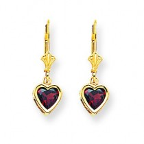 Heart Garnet Earrings in 14k Yellow Gold