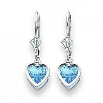 Heart Blue Topaz Earrings in 14k White Gold