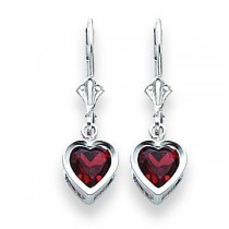 Heart Garnet Earrings in 14k White Gold