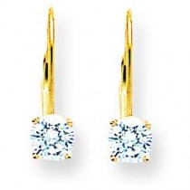 Cubic Zirconia Leverback Earrings in 14k Yellow Gold