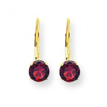 Garnet Leverback Earrings in 14k Yellow Gold