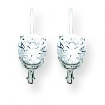 Cubic Zirconia Leverback Earrings in 14k White Gold