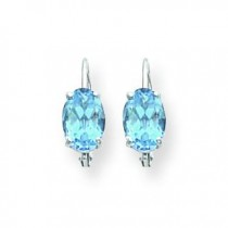 Oval Blue Topaz Leverback Earrings in 14k White Gold