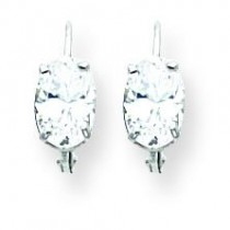 Oval Cubic Zirconia Leverback Earring in 14k White Gold
