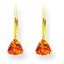 Citrine Diamond Trillion Leverback Earrin in 14k Yellow Gold