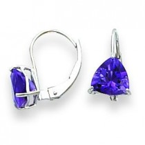 Trillion Amethyst Leverback Earring in 14k White Gold