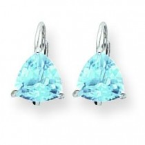 Trillion Blue Topaz Leverback Earring in 14k White Gold