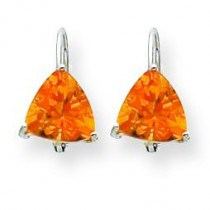 Trillion Citrine Leverback Earring in 14k White Gold