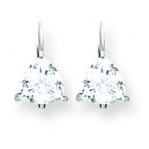 Trillion Cubic Zirconia Leverback Earring in 14k White Gold
