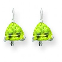 Trillion Peridot Leverback Earring in 14k White Gold