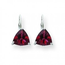 Rhodalite Garnet Diamond Trillion Leverback Earrin in 14k White Gold