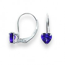 Heart Amethyst Earrings in 14k White Gold