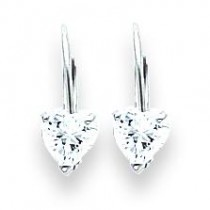 Heart Cubic Zirconia Earring in 14k White Gold
