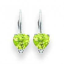 Heart Peridot Earring in 14k White Gold