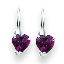 Heart Rhodalite Garnet Earring in 14k White Gold