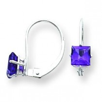 Princess Cut Amethyst Leverback Earring in 14k White Gold
