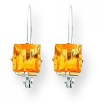 Princess Cut Citrine Leverback Earring in 14k White Gold