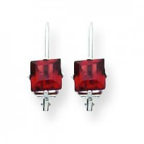 Princess Cut Garnet Leverback Earring in 14k White Gold