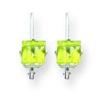 Princess Cut Peridot Leverback Earring in 14k White Gold