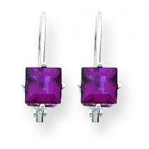 Rhodalite Garnet Diamond Princess Leverback Earrin in 14k White Gold