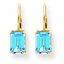 Emerald Cut Blue Topaz Earrings in 14k Yellow Gold