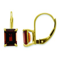 Emerald Cut Garnet Earrings in 14k Yellow Gold