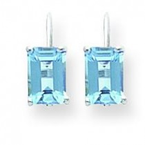 Emerald Cut Blue Topaz Earrings in 14k White Gold