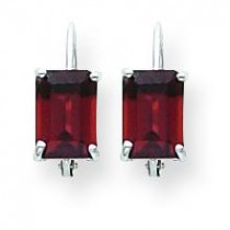 Garnet Diamond Emerald Leverback Earring in 14k White Gold