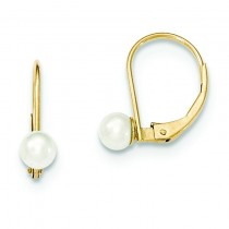 Pearl Leverback Earrings in 14k Yellow Gold