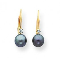 Black Pearl Diamond Leverback Earrings in 14k Yellow Gold (0.032 Ct. tw.)