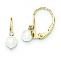 Pearl Diamond Leverback Earrings in 14k Yellow Gold (0.032 Ct. tw.)