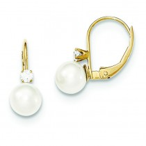 Pearl Diamond Leverback Earrings in 14k Yellow Gold (0.118 Ct. tw.)