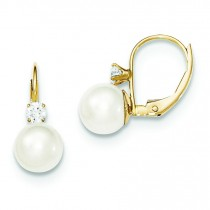 Pearl Diamond Leverback Earrings in 14k Yellow Gold (0.17 Ct. tw.)