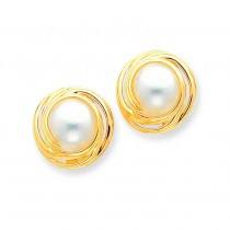 Mabe Cultured Pearl Earrings in 14k Yellow Gold