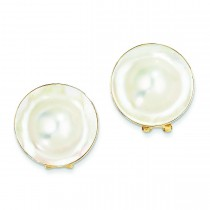 Cultured Blister Pearl Earrings in 14k Yellow Gold