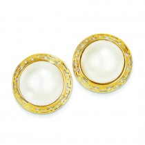 Cultured Mabe Pearl Earrings in 14k Yellow Gold